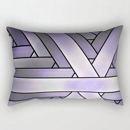 Lilac Gray Stripes, Modern Fractal Art Pattern Rectangular Pillow