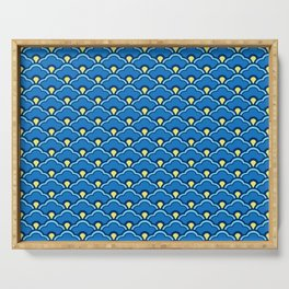 Deco Chinese Scallops, Ocean Blue and Indigo Serving Tray