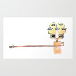 bicephalic man Art Print