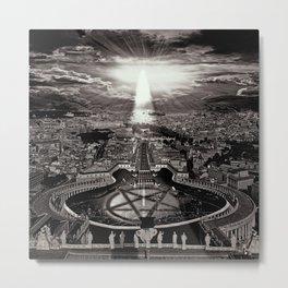 Vatican Rocking View Black and White Metal Print