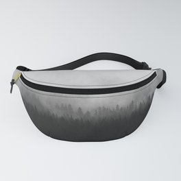 Moody Black and White Minimalist Pine Forest Foggy Misty Trees Fanny Pack