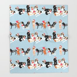 Coonhound Holiday Throw Blanket