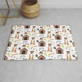 Boxer Dog Half Drop Repeat Pattern Rug