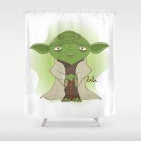yoda Shower Curtains featuring Yoda by Lalu