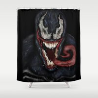 venom Shower Curtains featuring venom by Fila Venom Art