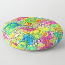 Psychedelic Circles Mixed media painting Floor Pillow