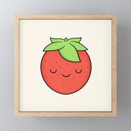 Happy Strawberry Framed Mini Art Print