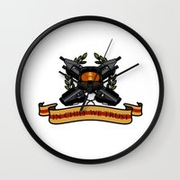 master chief Wall Clocks featuring Master Chief by Toby Court