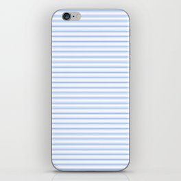 Mattress Ticking Narrow Horizontal Stripe in Pale Blue and White iPhone Skin