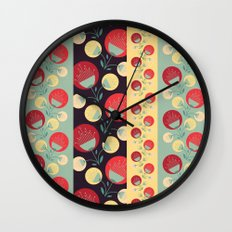 50's floral pattern Wall Clock