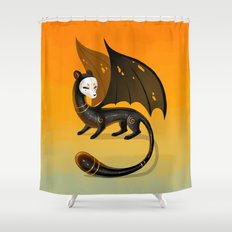 Black Stoat Shower Curtain