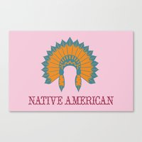 native american Canvas Prints featuring Native American by Adrienne DeWilde