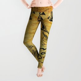 Distressed Cafe Coffee Sign Leggings
