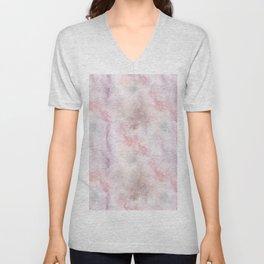Mauve pink lilac white watercolor paint splatters Unisex V-Neck
