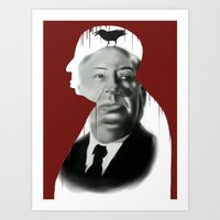 hitchcock Art Prints featuring Hitchcock by FlacoGarcia