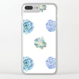 Bue and gren succulents pattern Clear iPhone Case