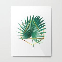 Minimal Tropical Palm Leaf - Palm And Gold - Gold Geometric Shape - Modern Tropical Wall Art - Green Metal Print