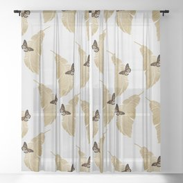 Butterfly & Palm Leaf, Gold Wall Art Sheer Curtain