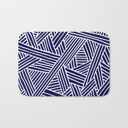 Abstract navy blue & white Lines and Triangles Pattern- Mix and Match with Simplicity of Life Bath Mat
