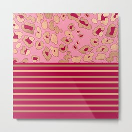 RoseGold: Leopard Stripe + Pink Metal Print