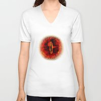 legolas V-neck T-shirts featuring Sauron The Dark Lord by neutrone