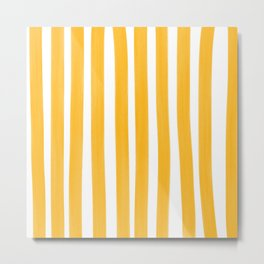 Sunny Yellow Paint Stripes Metal Print