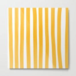Sunny Yellow Paint Stripes Metal Print