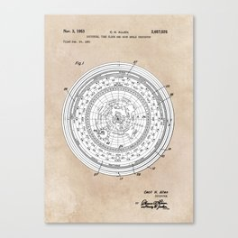 patent art Allen Universal time clock and hour angle indicator 1953 Canvas Print