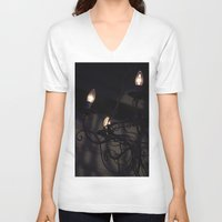 chandelier V-neck T-shirts featuring Chandelier Shadows by Elyse Victoria