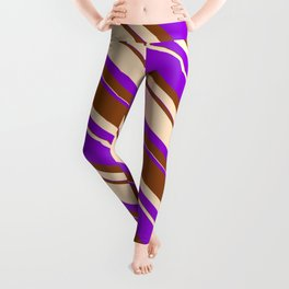 Dark Violet, Brown & Bisque Colored Striped Pattern Leggings