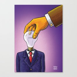 Light Bulb Head Businessman Canvas Print