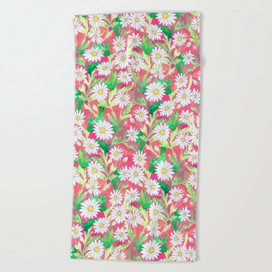 Sketchbook Daisies Coral Beach Towel