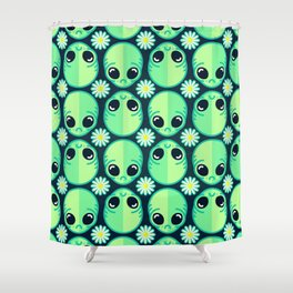 Sad Alien and Daisy Nineties Grunge Pattern Shower Curtain