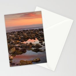 Red sunset at the Mediterranean sea Stationery Cards