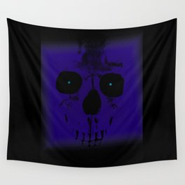 Blue Skull on Black Wall Tapestry