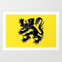 Flag of Flanders - Belgium,Belgian,vlaanderen,Vlaam,Oostende,Antwerpen,Gent,Beveren,Brussels,flamish Art Print