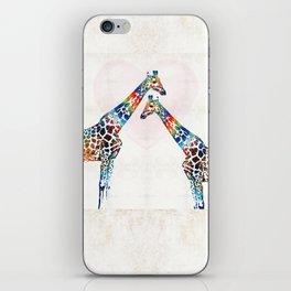 Colorful Giraffe Art - I've Got Your Back - By Sharon Cummings iPhone Skin