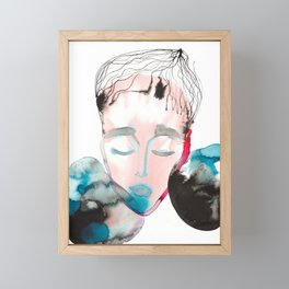 Abstract Cone-Head Portrait Framed Mini Art Print