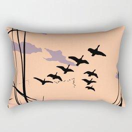 Ducks At Sunset Pop Art Landscape Rectangular Pillow