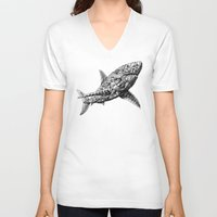 bioworkz V-neck T-shirts featuring Great White by BIOWORKZ