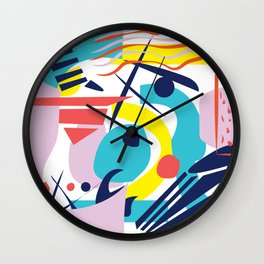 Bright Colorful Abstract Shapes Paper Cut Wall Clock