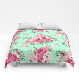 Cottage Chic Roses and Lilacs Floral in Aqua and Pink Comforters