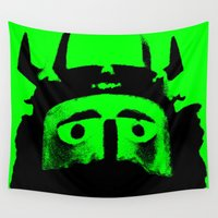 viking Wall Tapestries featuring VIKING (GREEN) by Silvio Ledbetter