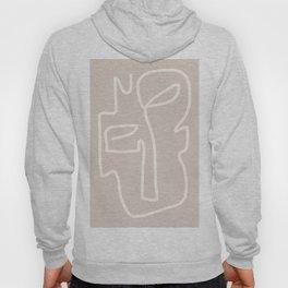 Abstract line art / Face/beige Hoody