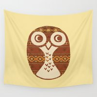 navajo Wall Tapestries featuring Navajo Owl  by Terry Fan