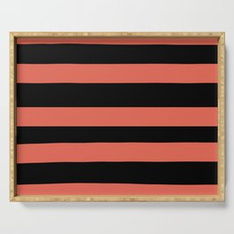 Inspired by Pantone Living Coral 16-1546 Hand Drawn Fat Horizontal Lines on Black Serving Tray
