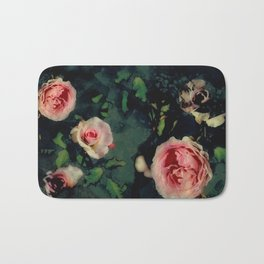 Big Pink Roses and Green Leaves Graphic Bath Mat