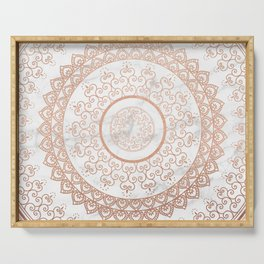 Mandala - rose gold and white marble Serving Tray