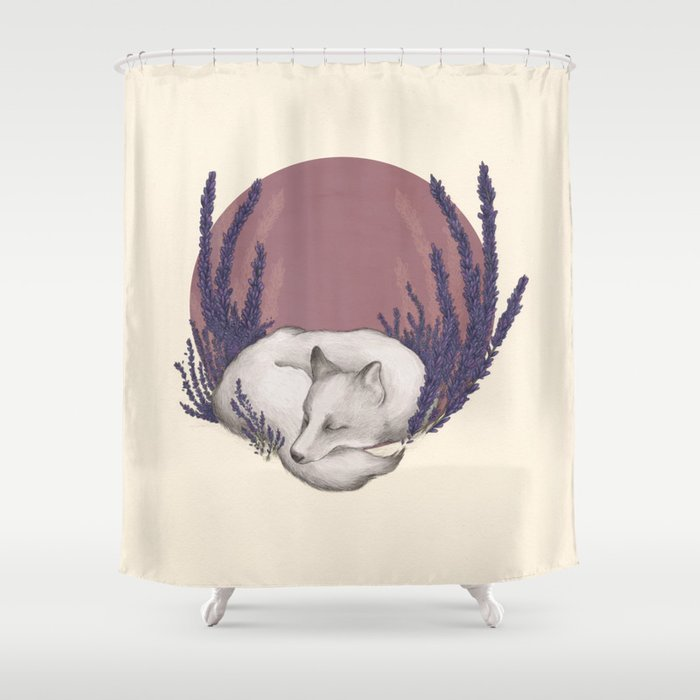 Fox & Lavender Shower Curtain by jessicaroux | Society6