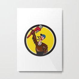 Turkey Plumber Raising Wrench Circle Cartoon Metal Print